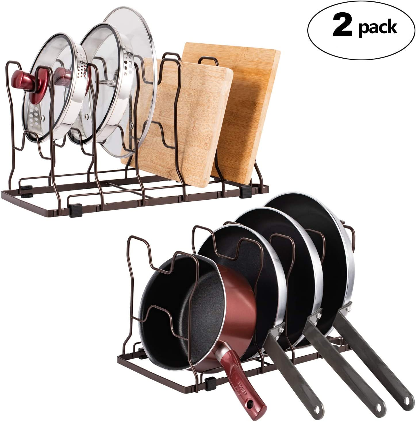 2 Pack Kitchen Cabinet Pantry Pan and Pot Lid Organizer Rack Adjustable Bakeware Cutting Board Rack with Rubber Feet and Recess Design Black
