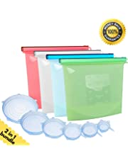 Gen I, Premium Reusable Silicone Food Preservation Storage Bags [4pcs], Airtight Seal replacing ziplock bags.Zip seals bags for meats, liquids, vegetables, fruits + Silicone Stretch Lids [6pcs]. Eco-friendly, BPA free. - Capacity bags