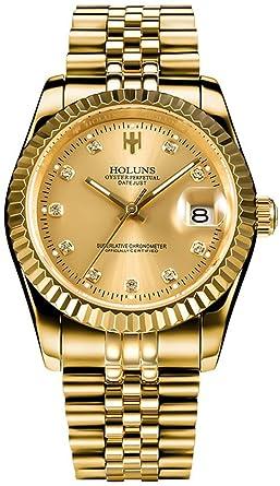Amazon.com: Reloj de hombre de acero inoxidable de oro ...