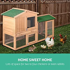 Scenic Rabbit Hutch Chicken Coop Guinea Pig w/Tray Cage House Run 2 Storey 138cm