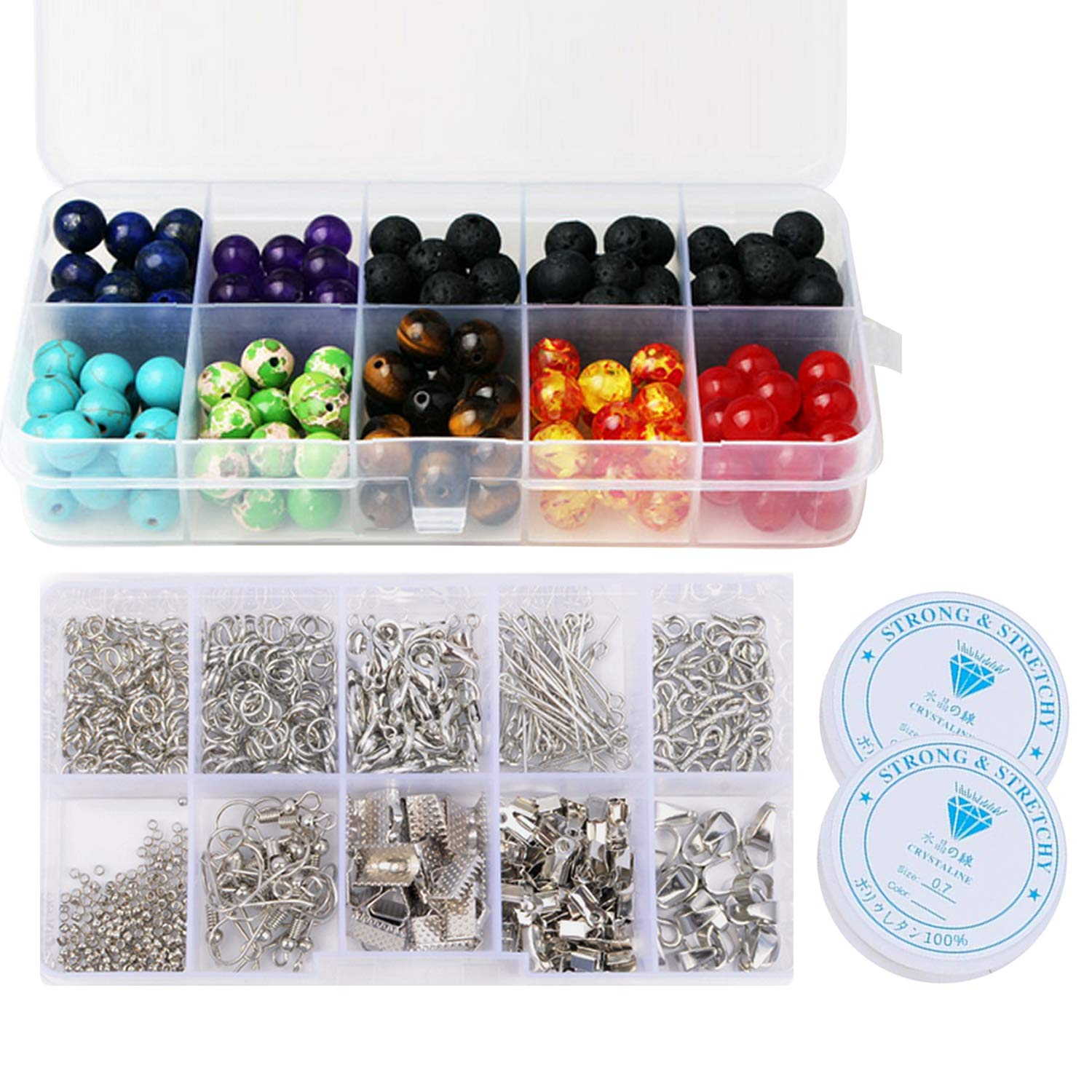 640PCS DIY Craft Jewelry Making Finding Tool Kit with 200PCS 8mm Lava Chakra Beads 2 Roll Crystal String for Bracelet Necklace Earring Migavan