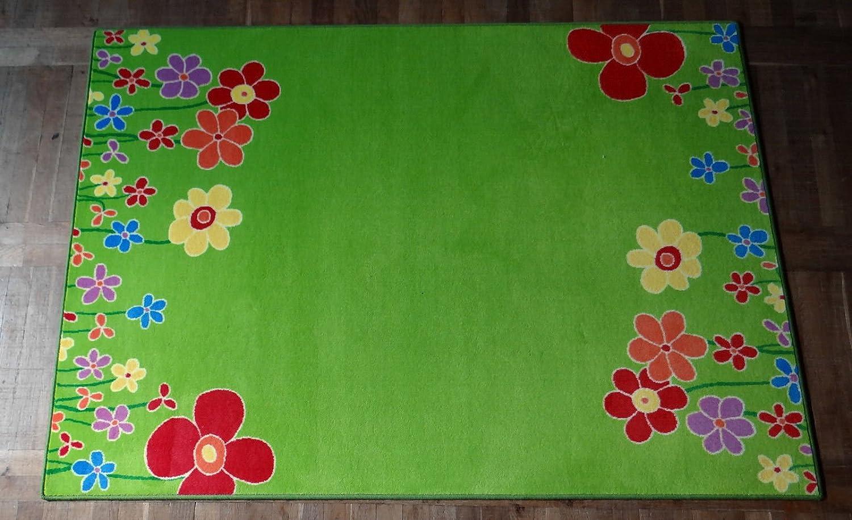 Eulberg Kinderteppich Blumenwiese grün Velours 140 x 200cm 1. Wahl W. Eulberg