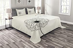 Ambesonne Dandelion Bedspread, Flying Flower and Blossom Fragility and Growth Inspired by Nature, Decorative Quilted 3 Piece Coverlet Set with 2 Pillow Shams, Queen Size, Beige Black