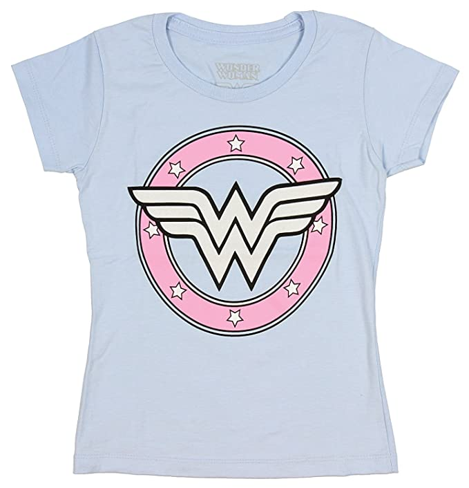 3e6acfa6 DC Comics Wonder Woman Girls Sugar Glitter Logo Light Blue T-Shirt (Large)