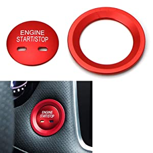 iJDMTOY Red Keyless Engine Push Start Button & Surrounding Ring For Cadillac Chevy GMC etc, 2pc Aluminum Ring/Cover Set