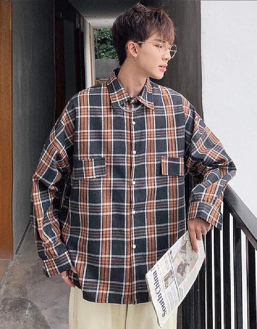 Hokny TD Mens Long Sleeve Loose Fit Shirt Stylish Plaid Button Front Shirts