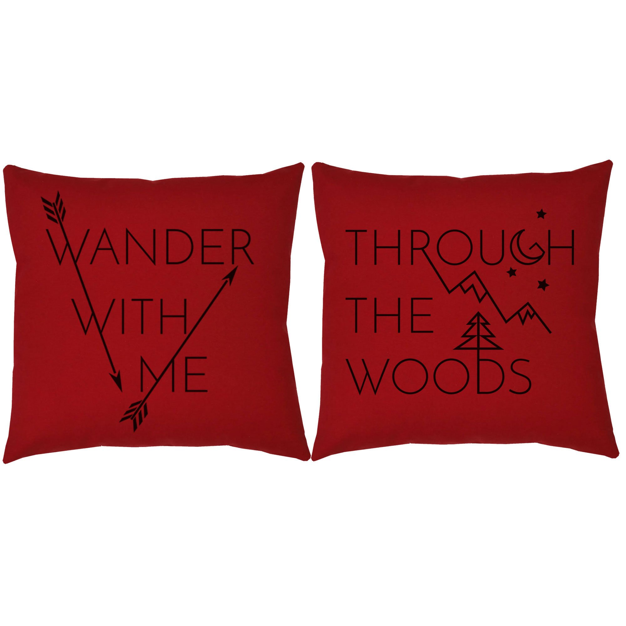 Set of 2 RoomCraft Wander With Me Through the Woods Throw Pillows 20x20 Square Red Indoor-Outdoor Cushions