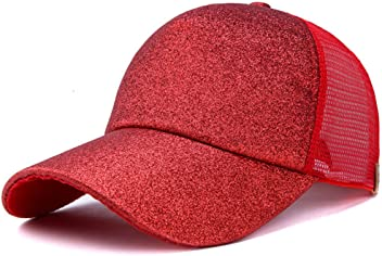 88fd5701249 Hatsandscarf Ponytail caps Messy Buns Trucker Plain Baseball Cap  (Glitter-Red)
