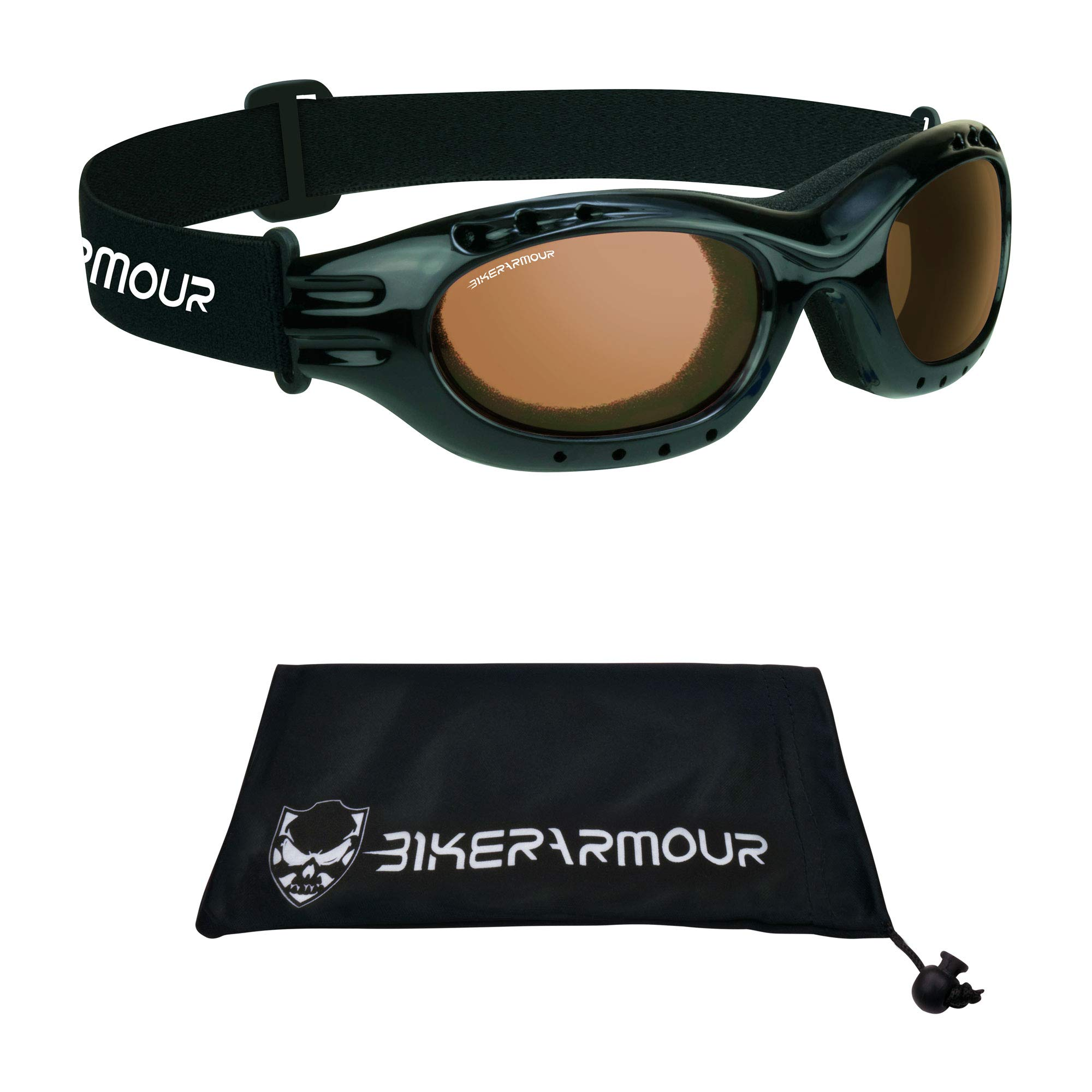 Motorcycle Goggles for Men and Women. Available From Smoke, Mirrored Blue, Mirrored Orange, Clear or Yellow Lenses. (Black HD)