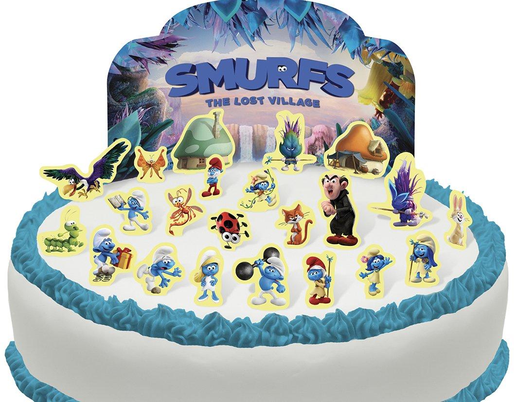 Phenomenal Cakeshop Pre Cut Smurfs Edible Cake Scene 23 Pieces Amazon Com Funny Birthday Cards Online Overcheapnameinfo