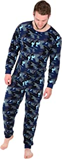 Mens Large Blue Camouflage Fleece All In One Pyjamas Sleepsuit Onesie Nightwear