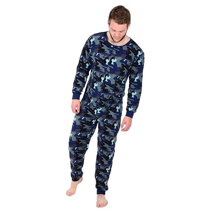 Aidan Lewis Tamaño Grande para Hombre Azul diseño de Camuflaje de Forro Polar Todo en uno sifón Sea Pelele Pijama de: Amazon.es: Ropa y accesorios