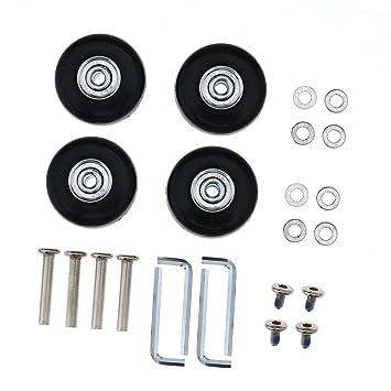 D2D Juego de 2 - 4 Ruedas de Repuesto para Maleta de Equipaje, Ejes de reparación de Lujo OD 45 mm Goma de Metal: Amazon.es: Hogar
