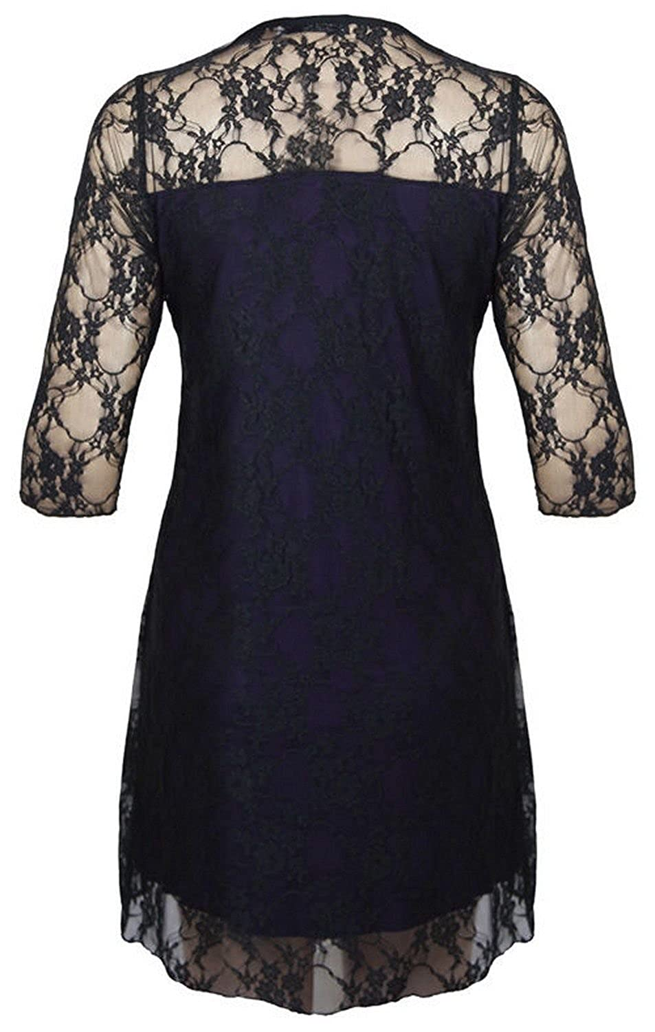 Women Plus Size Short Sleeve Top Womens Stretch Fit Lace Floral ...