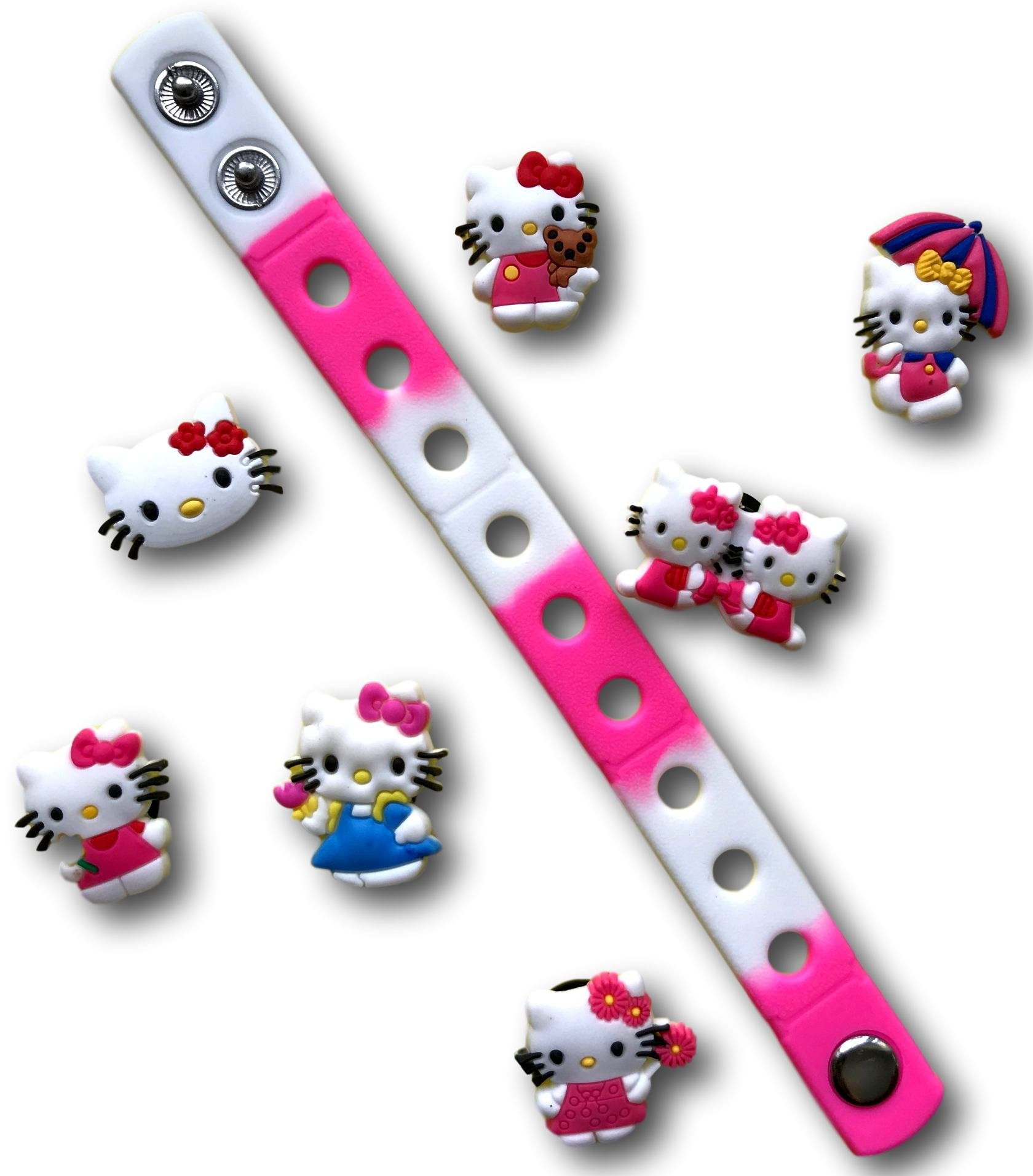 Cute Jibbitz Shoe Charms PVC Plug by Nenistore Accessories for Croc Shoes & Bracelet Wristband Party Gifts   Set of 7 pcs & 01 Silicone Wristband 7 Inches