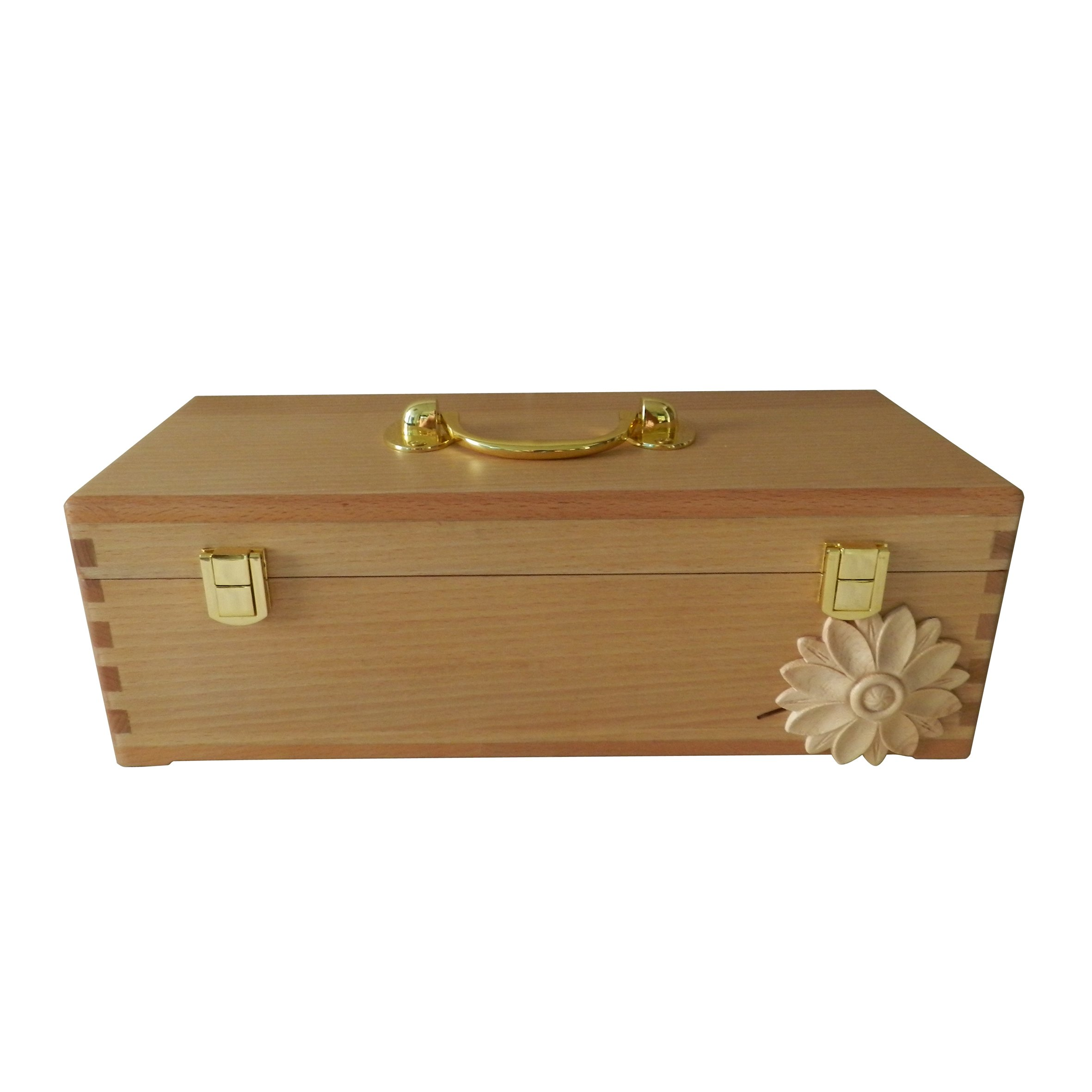 CVHOMEDECO. Beech Wood Essential Oils Storage Box & Carry Case with Brass Plated Steel Fittings and Engrave Flower Design. 14-1/2 X 5-1/2 X 4-3/4 Inch by CVHOMEDECO.
