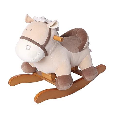Cavallo A Dondolo In Peluche.Labebe Cavallo Dondolo Legno Peluche Dondolo Bambini Di Asino Khaki