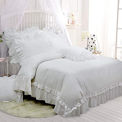 Excellent Tealp King Size Bedding Set White Shabby Chic Duvet Cover With 2 Decorative Pillow Shams Home Remodeling Inspirations Basidirectenergyitoicom