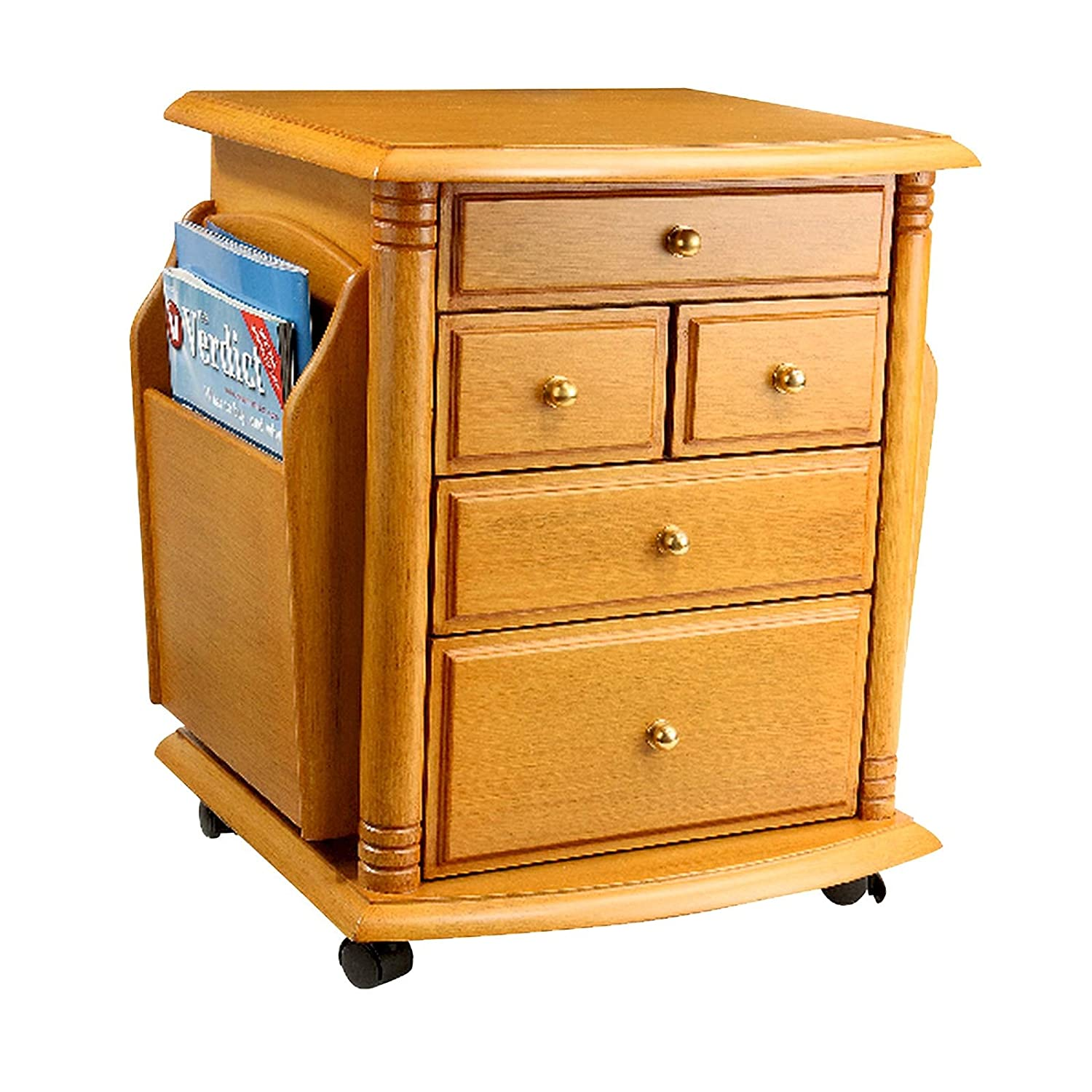 Burwells Home Magazine Rack Side Table Corner Storage Unit 5 Drawers Castors Wheels Mahogany