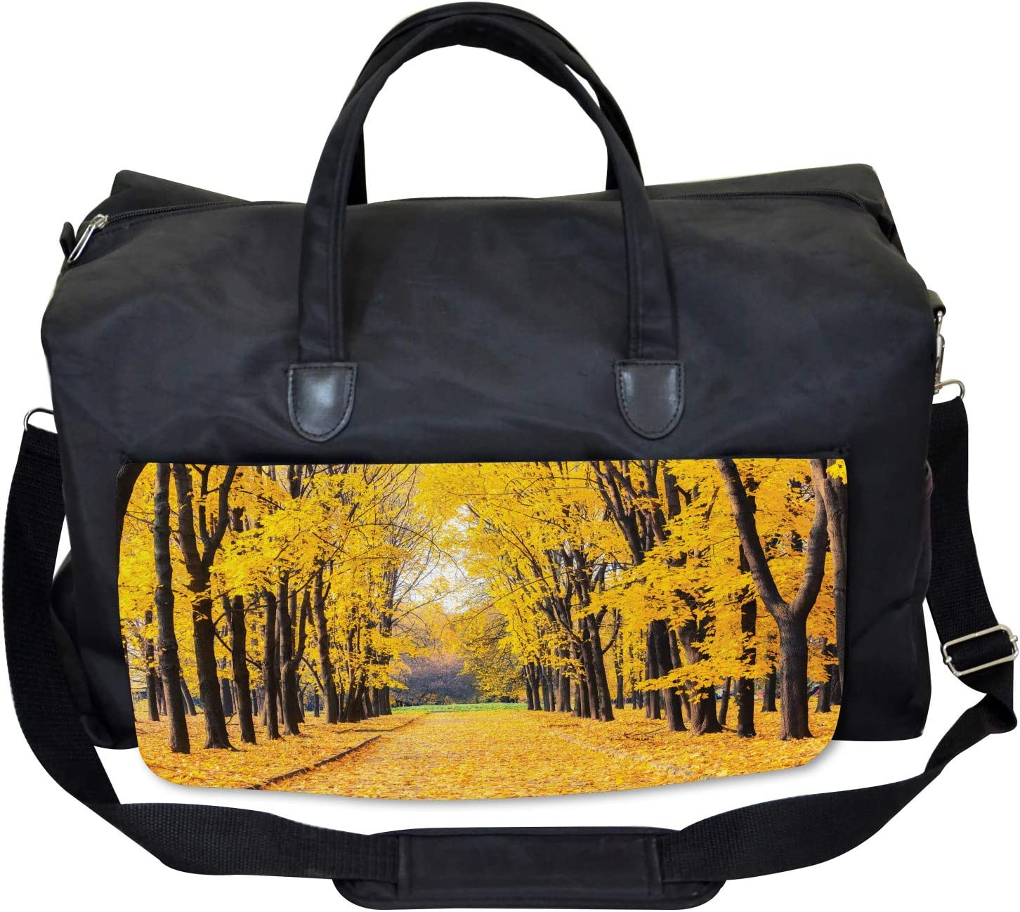 Ambesonne Nature Gym Bag Large Weekender Carry-on Autumn Trees Leaves