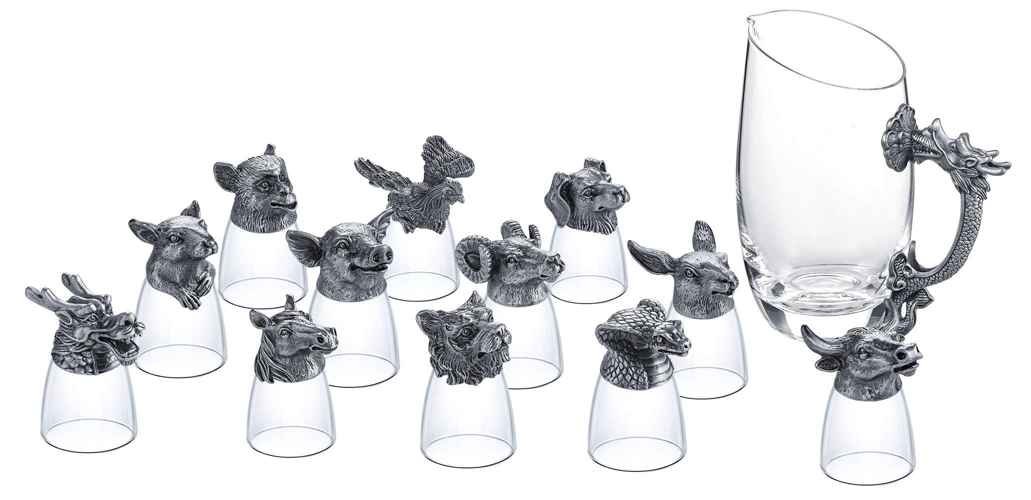Shot Glasses Set of 13, Crystal Animal Head Shot Glasses Set 12x 0.85oz Shot Glasses 1x 14oz Carafe