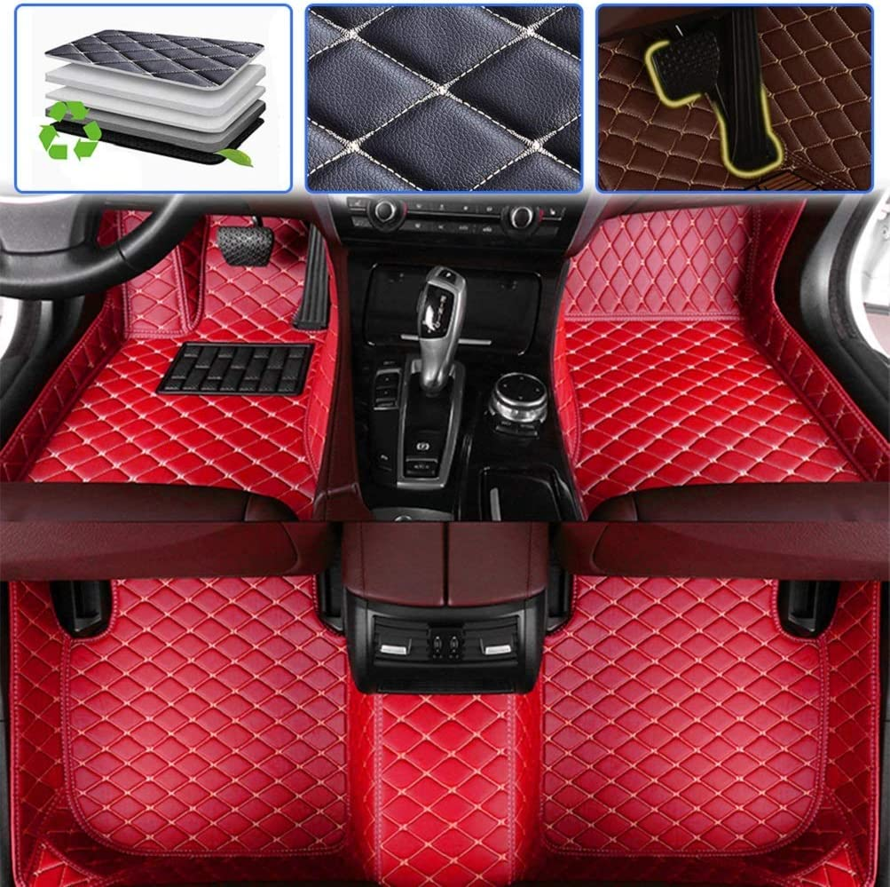 Wine red 2014-2016 Luxury Leather Waterproof Anti-Skid Full Coverage Liner Front & Rear Mat//Set Custom Car Floor Mats for Dodge Charger 2006-2013