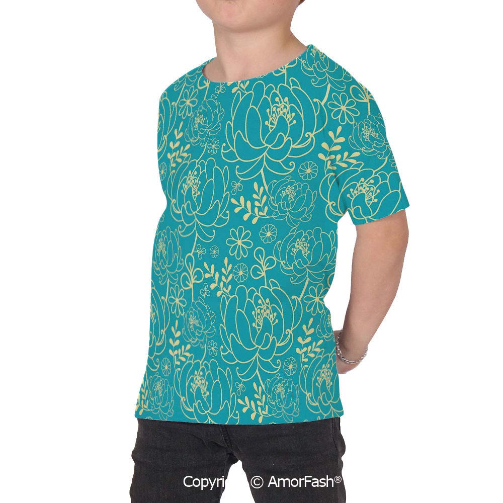 PUTIEN Yellow and Blue All Over Print T-Shirt,95/% Polyester,Childrens Short Sleeve T-S