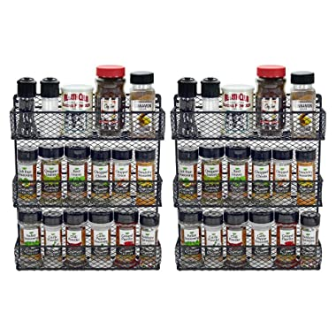 Southern Homewares SH-10208 Black Wall Mount Spice Kitchen Storage Shelf Holder 3 Tier Includes 2 Racks, One Size,