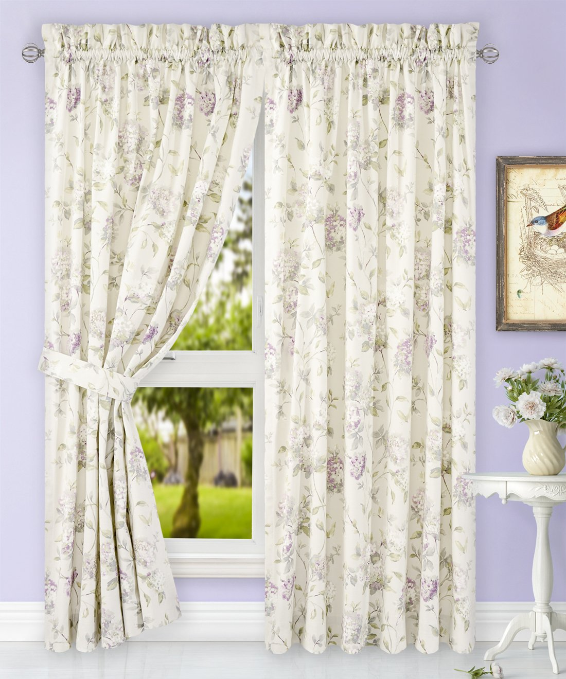 Simple Comfort Abigail Traditional Hydrangea Floral Print (Tailored Panel Pair with Tiebacks, 90 x 63, Lilac) by Simple Comfort