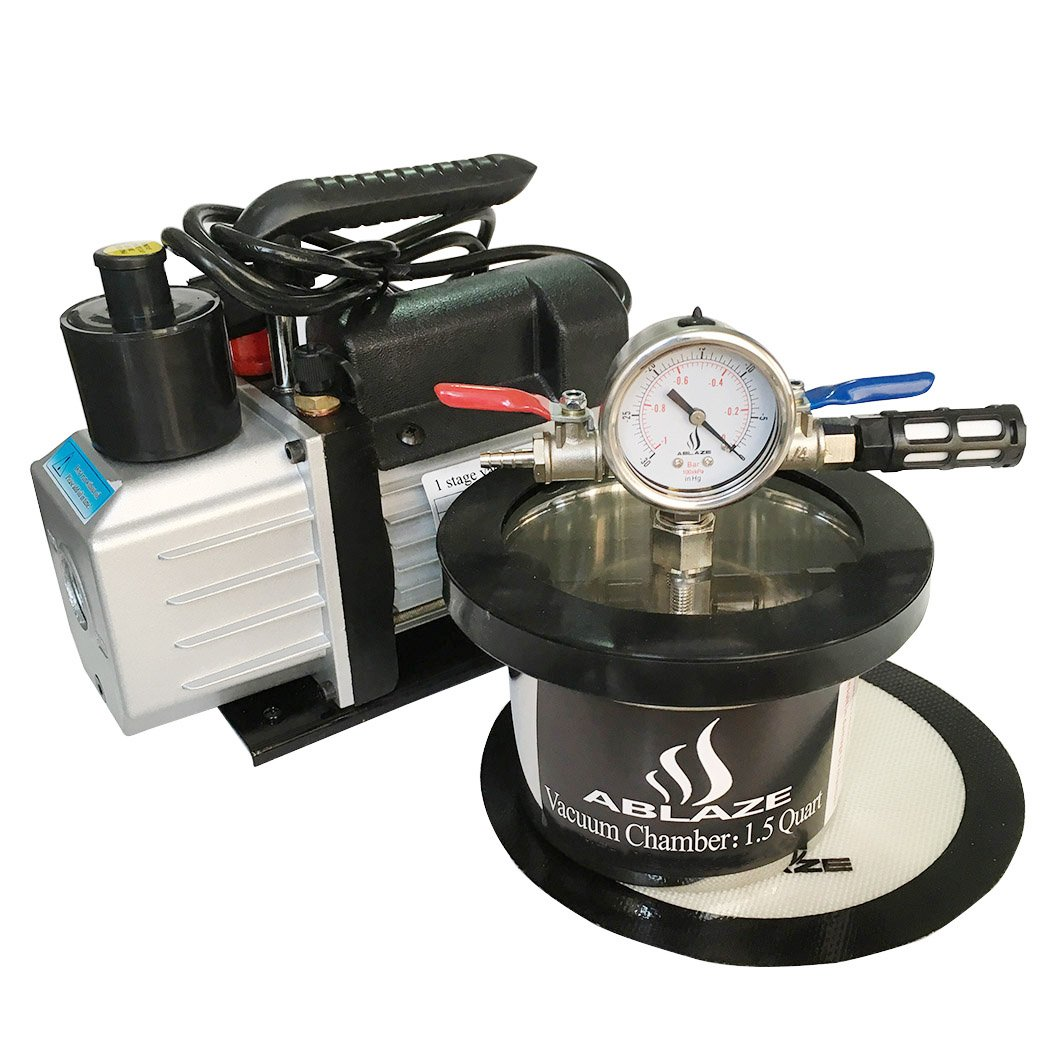 ABLAZE 1.5 Quart Stainless Steel Vacuum Degassing Chamber and 3 CFM Single Stage Pump Kit by Ablaze (Image #2)