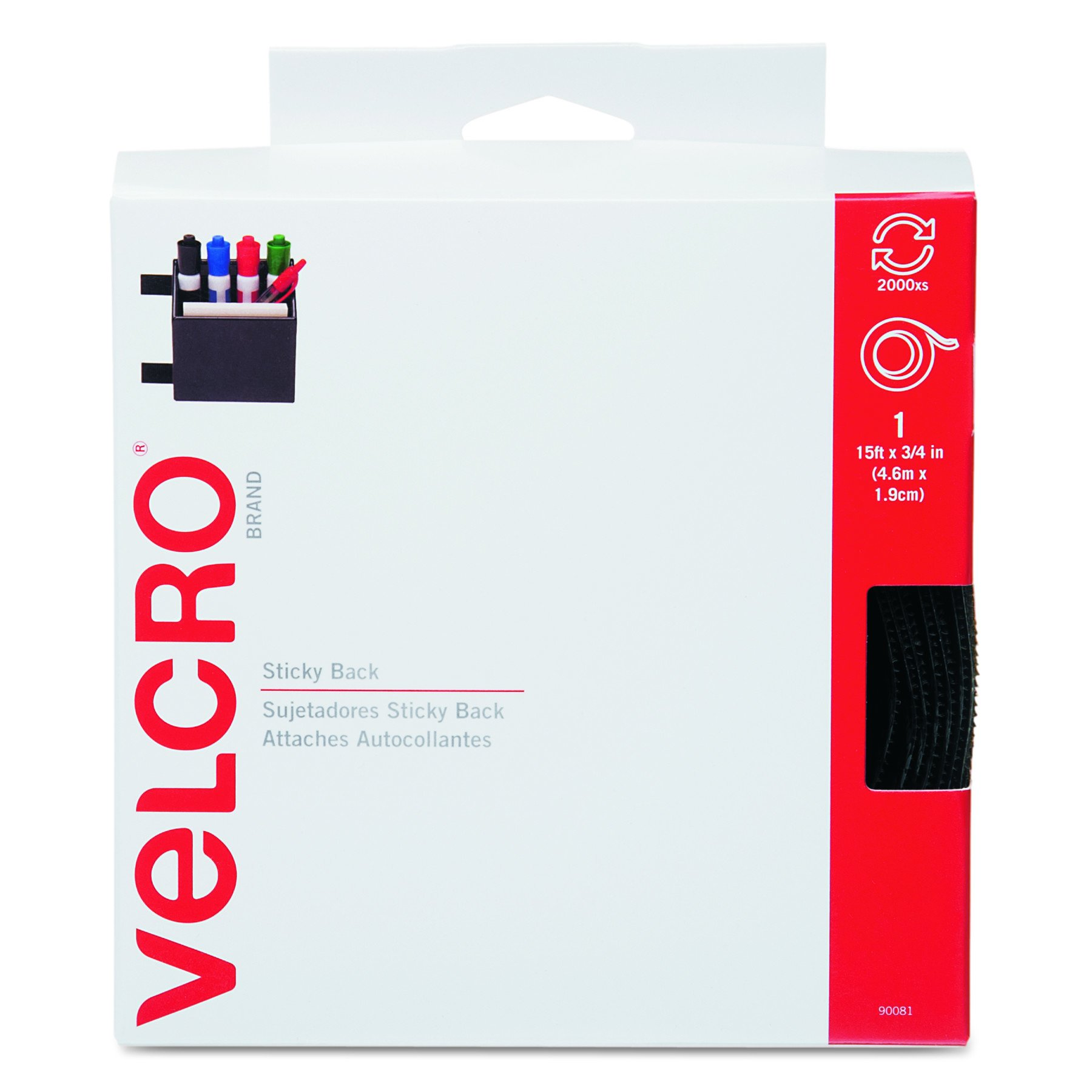 VELCRO Brand - Sticky Back Hook and Loop Fasteners| Perfect for Home or Office | 15ft x 3/4in Tape | Black
