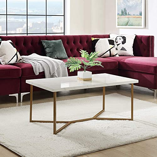 DEPOINTER Life Wooden Coffee Table 42 x 20 Modern Rectangle Side Table with Stylish Y-Leg Base, Home Furniture Perfect for Living Room, White-Gold