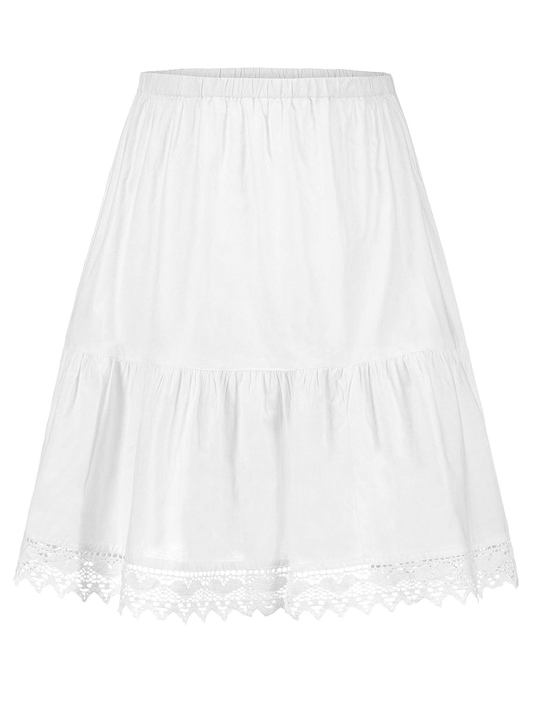 Steindl Trachten München-Salzburg Fondo de falda (enaguas) clásica con encaje en el dobladillo blanco - 53cm (Mini) 62cm (Midi) 80cm (3/4 de largo)