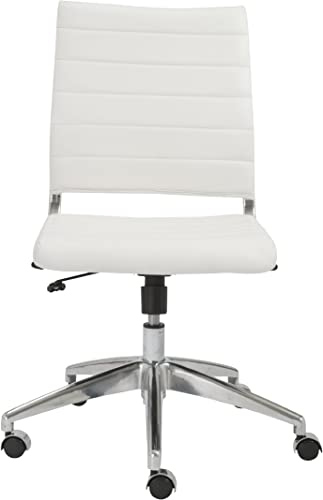 Euro Style Axel Low Back Soft Leatherette Adjustable Armless Office Chair with Chromed Steel Frame, White