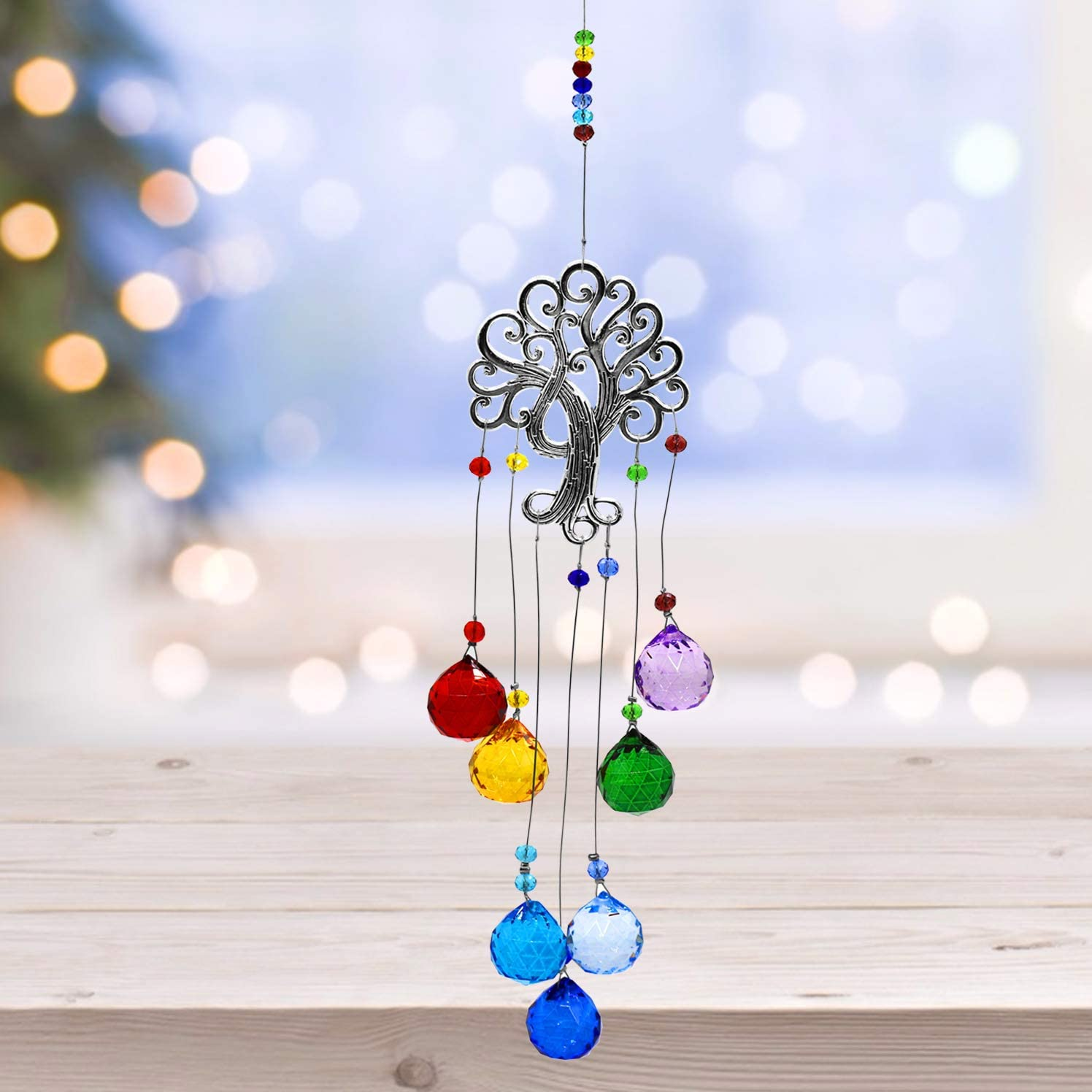 Chakra Colors Glass Crystal Ball Prisms Suncatcher Tree of Life Window Hanging Ornament Rainbow Maker Hanging Ornament Crystal Garden Pendant