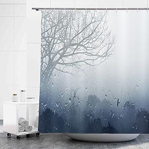 D&M Gray Shower Curtain Blue Forest Tree Foggy Misty Nature Rain Water Bath Curtain Scenery for Bathroom Bathtub Home Decor Landscape Polyester Waterproof 72