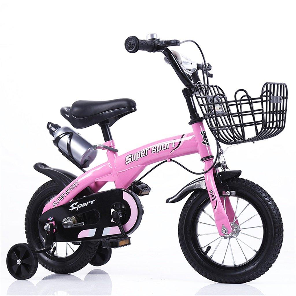 子供の自転車12|14|16|18インチ屋外の子供赤ちゃんキッドマウンテンバイク黒のトレーニングホイールで3-9歳の男の子の女の子のギフト|アイアンバスケット|ウォーターボトルセーフ B078GN35Q7 14 inches|ピンク ぴんく ピンク ぴんく 14 inches