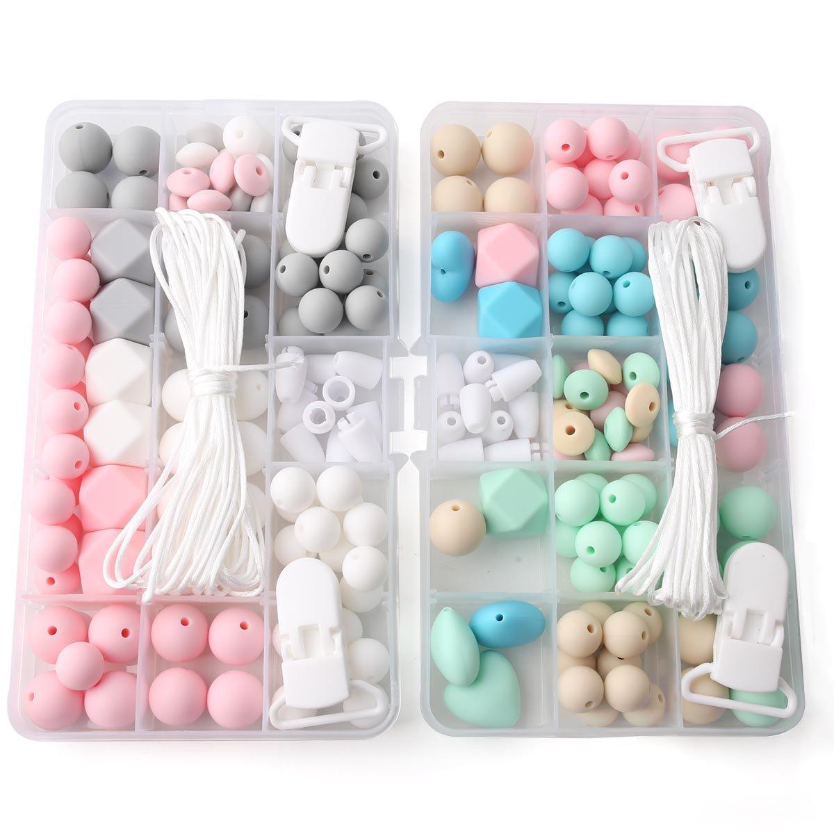 baby tete Silikon Perlen Schnuller Clip Zubehör DIY Perlen Set Zahnen Schmuck Hand gemacht Schnuller Clip Silikon Perlen Baby Teether Spielzeug