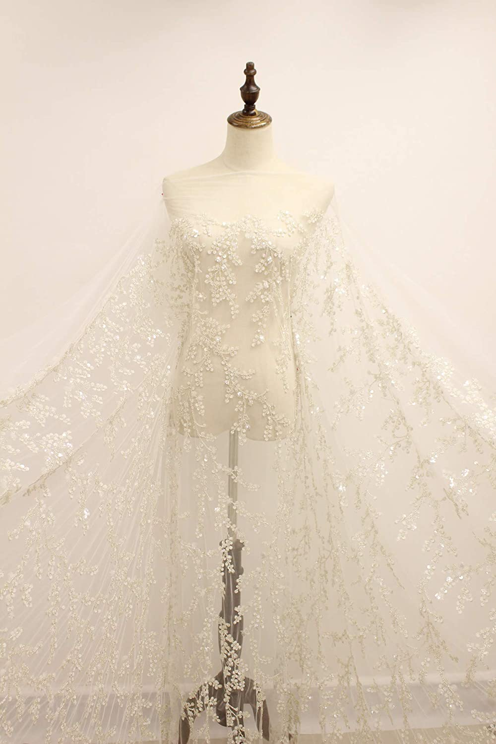 5yards new off white heavy beaded African French Lace Fabric with High Quality Tulle embroidery Lace Fabric