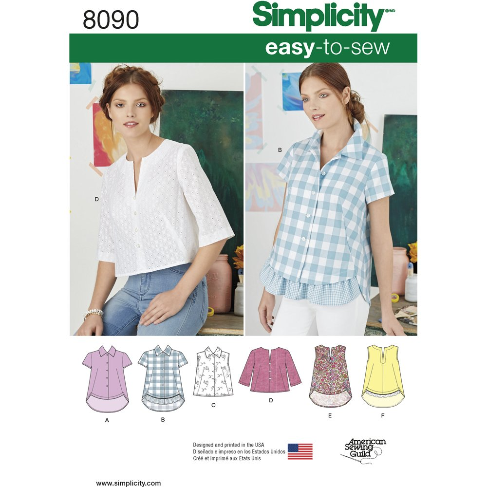 eae4c24e04 Amazon.com  Simplicity Creative Patterns Simplicity Patterns Misses   Easy-to-Sew Button Shirt and Pullover Top Size  H5 (6-8-10-12-14)
