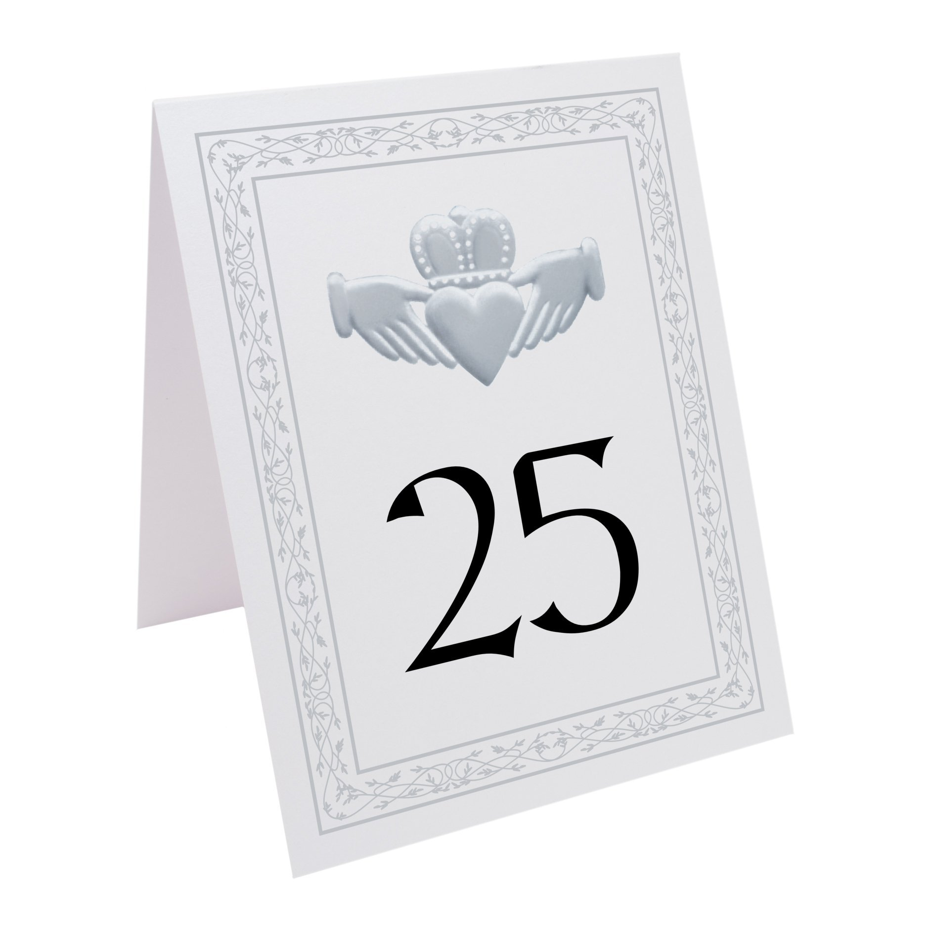 Documents and Designs Silver Claddagh Table Numbers (Select Quantity), White, 1-75
