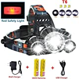Brightest and Best LED Headlamp, 10000 Lumens Flashlight-IMPROVED LED for Camping, Running, Hiking, Fishing, Hunting, Reading, Biking and Kids,Waterproof Hard Hat Light, Bright Head Lights, Running or Camping headlamps …