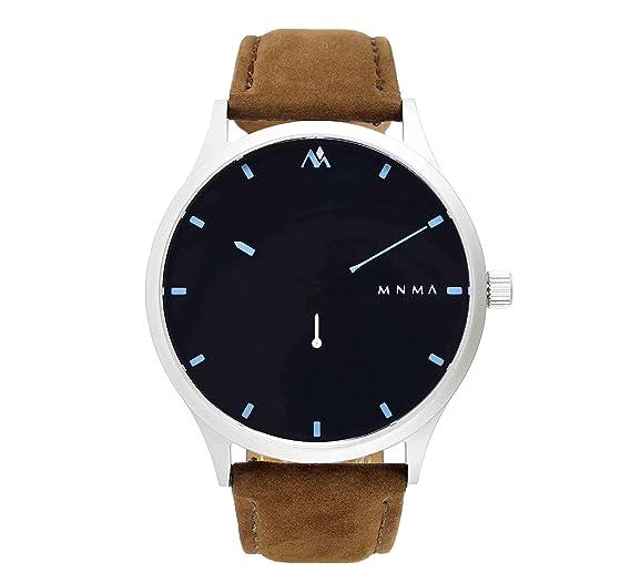 MNMA - Reloj de Pulsera para Hombre, diseño Minimalista, Color Negro, Cristal de