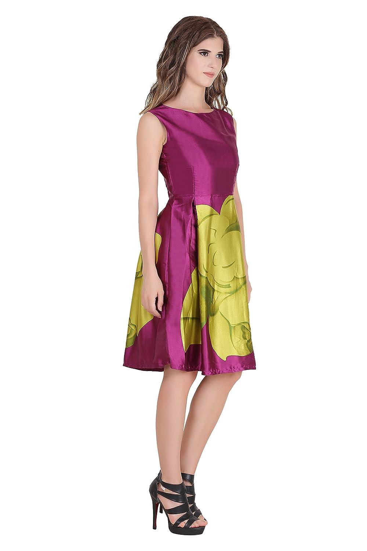 Buy Rutvi Fashion Wine Colored Sleeveless Satin Western Dresses at