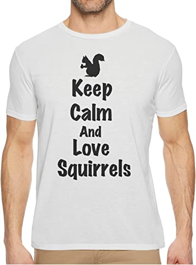 Qqppgg Keep Calm And Love Squirrels Men Short Sleeve Stylish Tee