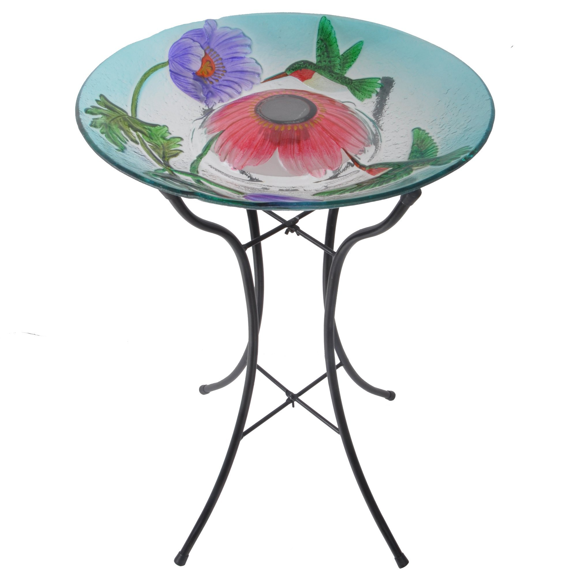 Peaktop 3200670 Outdoor Hummingbird Fusion Glass Peaktop-3200670 Bird Bath, Hand Painted Playing, 18-Inch Blue/Pink