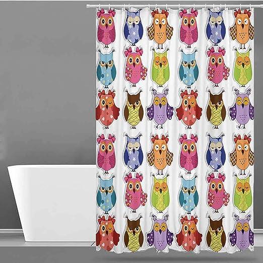 VIVIDX - Juego de Cortinas para mamparas de Ducha, diseño de búhos de Dibujos Animados con Varias emociones sonrientes y sonrientes, poliéster con impresión artística: Amazon.es: Hogar