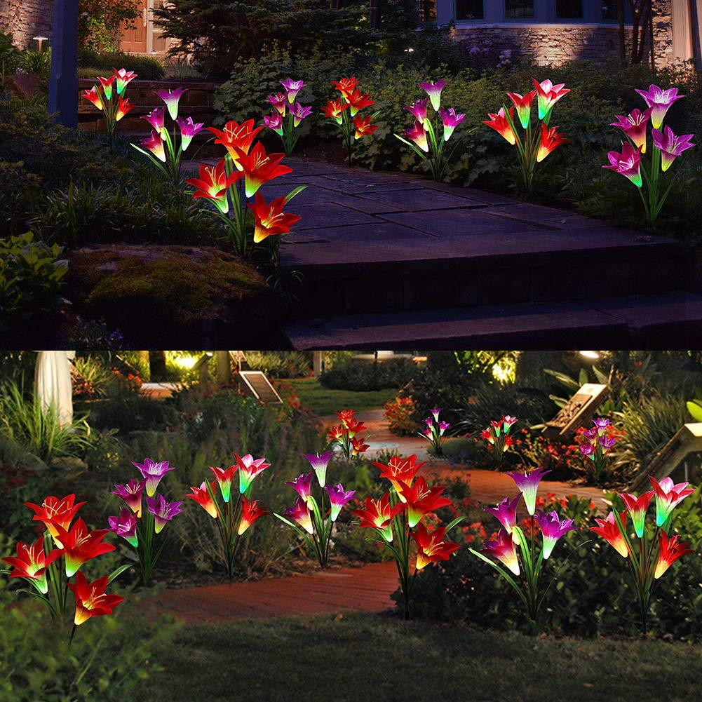 Outdoor Solar Garden Stake Lights - Solar Powered Lights with 8 Lily Flower, Multi-Color Changing LED Solar Stake Lights for Garden, Patio, Backyard (Purple and Red)) by ANMIX (Image #4)