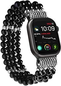 Imymax Replacement for Apple Watch Band 38/40mm Handmade Beaded Elastic Stretch Faux Pearl Bracelet Replacement iWatch Strap Wristband for iWatch Series4/ 3/ 2/1 - Black for Women Girl