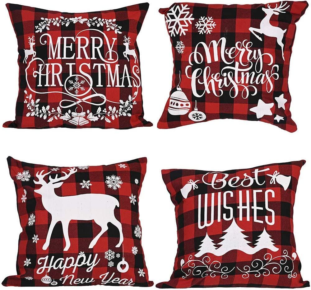 Maxwelly 4 PCS Christmas Decorative Pillow Cover for Sofa Couch, Linen Throw Pillow Cases for Home Decor, Red and Black Checkered,18 x 18 Inches